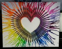 Rainbow Heart Crayons On Canvas