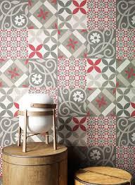 newroom vliestapete rot tapete orientalisch fliesen fliesentapete fliesenoptik grau weiß grafisch modern mosaik kacheln für wohnzimmer schlafzimmer