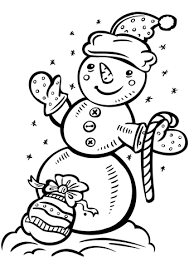 Click To See Printable Version Of Snowman With Candy Cane And Gift Bag Coloring Page