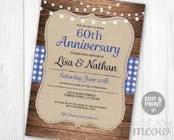 Wedding Anniversary Invitations Rustic Blue Check Dinner Elegant Invite Couple Navy Party INSTANT DOWNLOAD Wood Lights Editable Printable