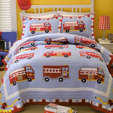 Amazon.com: PEM America Cotton Fire Truck Quilt With Pillow Sham ...