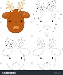 Christmas Cartoon Reindeer Coloring Book And Dot To Educational Game For Kids