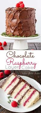 Six glorious layers of vanilla cake with raspberry sauce and a rich dark chocolate frosting