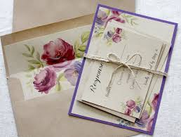 Purple Wedding Invitations Boho Rustic Invitation Sets Floral Recycled Eco Friendly