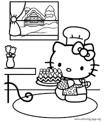 Hello Kitty Cooked A Cake Coloring Page