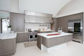 Grey Kitchen Design Ideas Including Contemporary Images Shape With Painted Cabinets And White Granite
