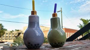polar roll ta serves bubbla tea in light bulbs