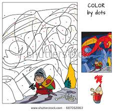 Knight In The Dragons Cave Paint Picture By Dots Educational Game For Children