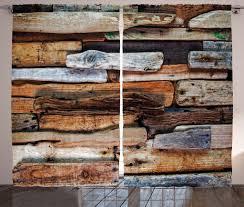abakuhaus jahrgang rustikaler gardine knorrige planken vintage schlafzimmer kräuselband vorhang mit schlaufen und haken 280 x 175 cm braun