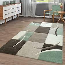 moderner teppich wohnzimmer kariert trendig pastell grün