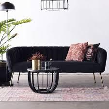 3 sitzer sofabank sofa 180 cm samt schwarz haus deko