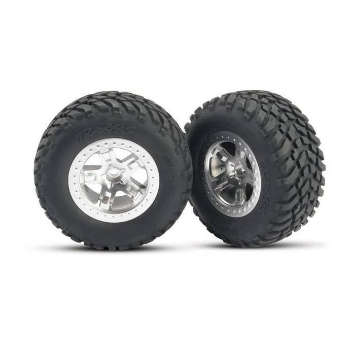 Traxxas Front Tires and Satin Chrome Wheels