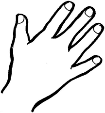 Hand Outline Finger Coloring Page Sky