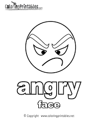 Learning Adjectives Angry Face Coloring Page Printable