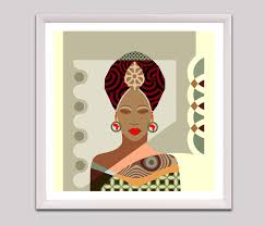 African Woman Black Art Painting American Wall Nubian Queen
