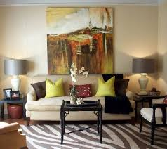 Living Room Brown Leather Sofa With Cushions And Wooden Base Plus