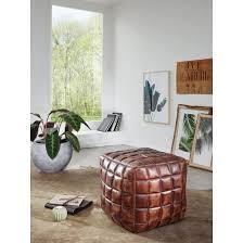 sitzwürfel stanley echtleder braun 39 x 41 x 39 cm ottomane wohnzimmer design pouf hocker orientalisch polster sitzhocker edel orient beinablage