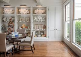 Coastal Home Decor Beach Glam Dining Area Coral Seashells Hardwood Floors And Bay Windows
