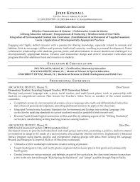 Child Care Resume Sample Elegant Elementary Education Fresh Examples Nice