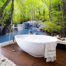 pvc selbst adhesive wasserdichte foto wandbild tapete grün wald wasserfall natur landschaft 3d wand aufkleber badezimmer hintergrund wandbild