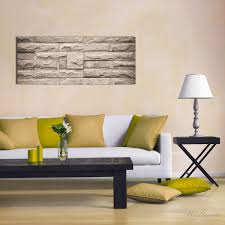 glasbild steinwand grau braun 50 x 125 cm
