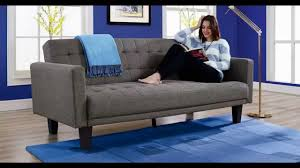 Delaney Sofa Sleeper Instructions by Dhp Sienna Futon Tapered Wooden Legs Cheap Modern Chairs Youtube