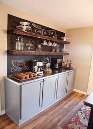 Coffee Bar In The Kitchen With Chalkboard Wall And Floating Wooden Shelves
