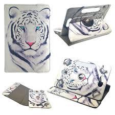tablette universelle rotative 360 9 pouces motif tigre blanc