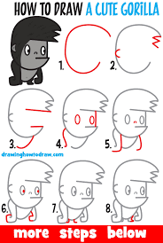Learn How To Draw A Cute Cartoon Kawaii Gorilla With Easy Step By Drawing Tutorial For Kids Beginners