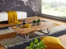 finebuy couchtisch anura 115 x 25 x 58 cm akazie massiv holz metallgestell groß baumstamm wohnzimmertisch massivholz braun baumkante sofatisch