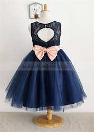 Navy Blue Lace Tulle Keyhole Back Knee Length Flower Girl Dress