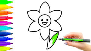 Flower Coloring Book And Drawing Colouring Videos For Kids With Colored Markers
