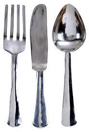 Amazon 23 Oversized Aluminum Silver Fork Knife Spoon Wall Decor Set Home Kitchen