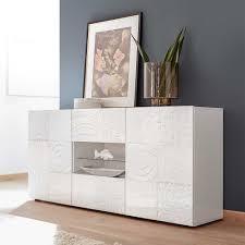 wohnzimmer sideboard in hochglanz weiß siebdruck verziert