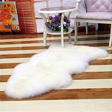 Bedroom Faux Mat Soft Hairy Carpet Sheepskin Chair Cover Seat Pad Plain Skin Fur Fluffy Area Rugs Washable White