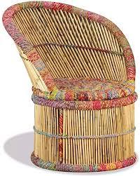 vidaxl sessel handgefertigt stuhl bambusstuhl korbsessel korbstuhl loungesessel relaxsessel wohnzimmer lounge bambus mit chindi details