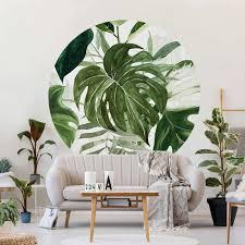 runde tapete selbstklebend aquarell tropisches arrangement mit monstera