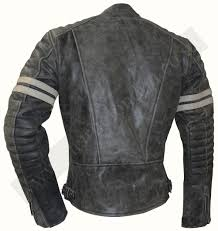 stone wash fight club motorcycle leather jacket with white stripes