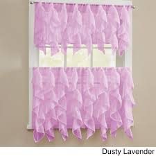 Pink And Purple Ruffle Curtains by Chic Sheer Voile Vertical Ruffled Tier Window Curtain Valance And