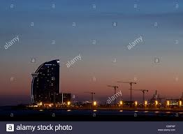 100 The W Hotel Barcelona Spain Hotel At Night From Barceloneta Beach Stock
