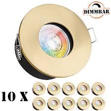10er ip65 rgb led einbaustrahler set flach in gold mit 3w led ledando 11 farben kaltwe