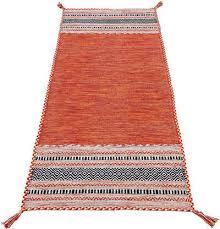 läufer kelim azizi carpetfine rechteckig höhe 5 mm baumwolle wendeteppich mit fransen wohnzimmer