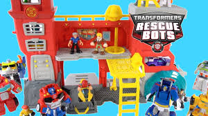 100 Rescue Bots Fire Truck TRANSFORMERS RESCUE BOTS NEW GRIFFIN ROCK FIRE STATION OPTIMUS BUMBLEBEE CHASE HEATWAVE CODY