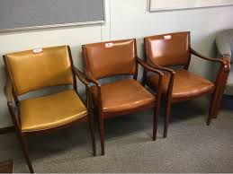 100 Reception Room Chairs Brown Waiting Quantity Of 3 Vinyl Seat Timber Frame Vinyl