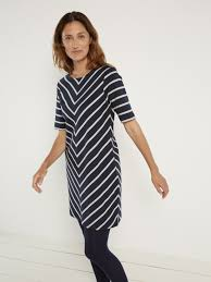 chevron stripe tunic dress dresses white stuff