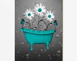 Teal Color Bathroom Decor by Teal Bathroom Decor Etsy
