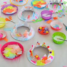 Paper Plates Are Cut Into Crowns For Children To Collage Party Hats