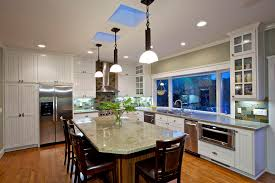 Magnificent Hampton Bay Lighting Method San Diego Traditional Kitchen Inspiration With Window Bead Board Cabinets Counter Stools Glass Front