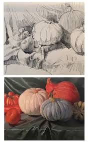 Pumpkin Patch Corvallis Oregon by Sedwick Studio From Drawing To Painting