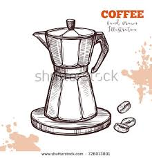 Italian Moka Coffee Maker Handdrawn Sketch Isolated Illustration Engraving Line Style Pot With